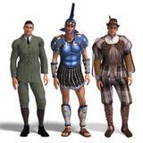 Tres diversos equipos: Caballero, romano, Romeo Fotografía de archivo