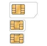 Tres diversos tipos de tarjetas de SIM Imagen de archivo