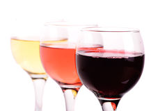 Tres diversos vidrios de vino Fotografía de archivo libre de regalías
