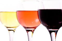 Tres diversos vidrios de vino Fotos de archivo