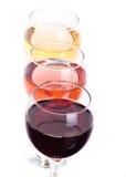 Tres diversos vidrios de vino Imagen de archivo libre de regalías