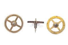 Tres engranajes viejos de las ruedas dentadas foto de archivo