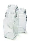 Tres envases de cristal vacíos Imagen de archivo libre de regalías