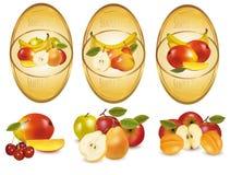 Tres escrituras de la etiqueta con diversas clases de fruta. Imagen de archivo