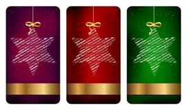 Tres escrituras de la etiqueta de la Navidad stock de ilustración
