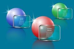 Tres esferas brillantes y banderas transparentes para el texto Modelo de Infographic Imagen de archivo libre de regalías