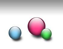 Tres esferas de cristal coloreadas stock de ilustración