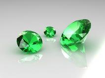 Tres esmeraldas hermosas Fotos de archivo