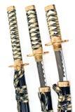 Tres espadas japonesas del katana del samurai Imágenes de archivo libres de regalías