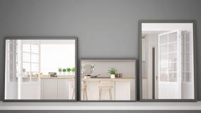 Tres espejos modernos en el estante o el escritorio que refleja la escena del diseño interior, cocina contemporánea escandinava,  stock de ilustración