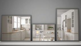 Tres espejos modernos en el estante o el escritorio que refleja la escena del diseño interior, cocina contemporánea escandinava,  libre illustration