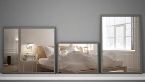 Tres espejos modernos en el estante o el escritorio que refleja la escena del diseño interior, dormitorio clásico escandinavo, ar fotos de archivo libres de regalías