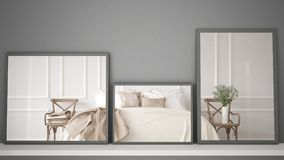 Tres espejos modernos en el estante o el escritorio que refleja la escena del diseño interior, dormitorio clásico del vintage, ar imágenes de archivo libres de regalías