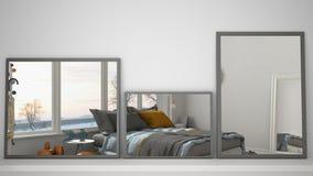 Tres espejos modernos en el estante o el escritorio que refleja la escena del diseño interior, dormitorio con la ventana panorámi ilustración del vector