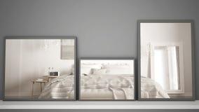 Tres espejos modernos en el estante o el escritorio que refleja la escena del diseño interior, dormitorio contemporáneo clásico,  fotos de archivo