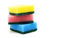 Tres esponjas empiladas. Foto de archivo