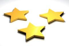 Tres estrellas de oro 3d Fotos de archivo libres de regalías