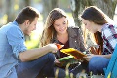Tres estudiantes que estudian al aire libre en la hierba Fotos de archivo libres de regalías