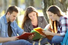 Tres estudiantes que estudian memorizando notas Fotografía de archivo