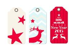 Tres etiquetas de la Navidad en estilo elegante lamentable Fotos de archivo