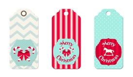 Tres etiquetas de la Navidad en estilo elegante lamentable Fotografía de archivo libre de regalías