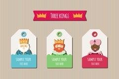 Tres etiquetas de los reyes Foto de archivo libre de regalías