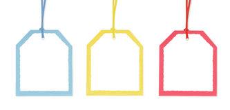 Tres etiquetas del regalo con las fronteras coloridas Imágenes de archivo libres de regalías