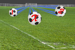 Tres fútboles que muestran la cuenta final posible del juego Fotos de archivo
