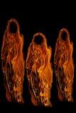 Tres fantasmas o espíritus necrófagos anaranjados de Víspera de Todos los Santos Fotos de archivo