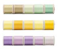 Tres filas horizontales de la frontera de hilos de coser imágenes de archivo libres de regalías