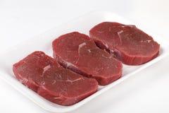 Tres filetes minuciosos de la carne de vaca cruda Fotos de archivo libres de regalías