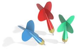 Tres flechas del dardo Imagen de archivo libre de regalías