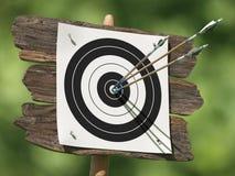 Tres flechas en una blanco del tiro al arco Imagen de archivo libre de regalías