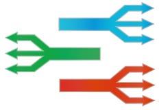 Tres flechas a partir de una línea Foto de archivo