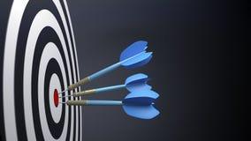 tres flechas típicas azules del dardo Fotografía de archivo