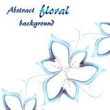 Tres flores abstractas en azul en un fondo blanco libre illustration