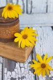 Tres flores amarillas Imagen de archivo libre de regalías