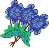 Tres flores azul marino Libre Illustration