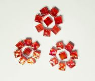 Tres flores hechas de mosaico imagenes de archivo