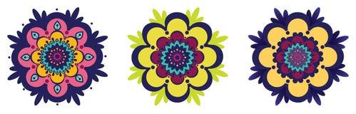 Tres flores ornamentales Stock de ilustración