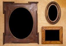 Tres foto-marcos vacíos del wintage Foto de archivo libre de regalías