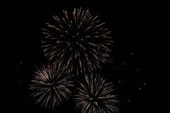 Tres fuegos artificiales grandes foto de archivo
