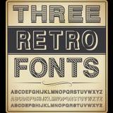 Tres fuentes del vintage ilustración del vector