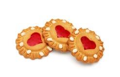 Tres galletas con la jalea roja Fotos de archivo libres de regalías