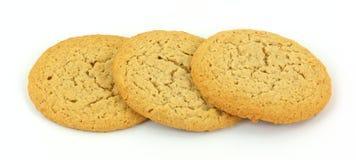 Tres galletas de mantequilla de cacahuete Fotos de archivo libres de regalías