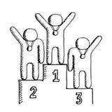 Tres ganadores en el podio Aislado en blanco Illustrat del vector Imagen de archivo libre de regalías
