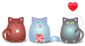 Tres gatitos felicitan Foto de archivo libre de regalías