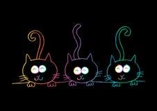 Tres gatos Estilo de la historieta stock de ilustración