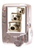 Tres generaciones de cámaras en una pantalla. Imagenes de archivo