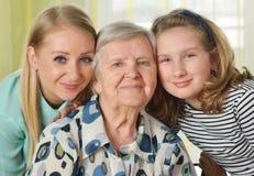 Tres generaciones de mujeres Foto de archivo libre de regalías